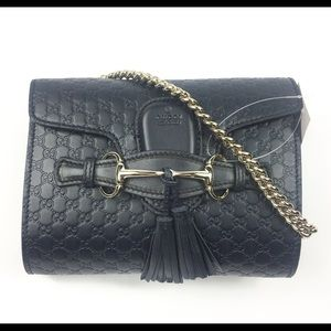 Gucci #449636 Blue Leather Small Emily Crossbody